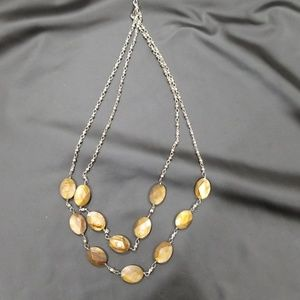 Beautiful brown and silver 2 tier necklace